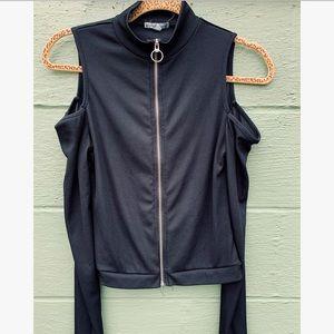 25% Off Bundles! Black Zip Up Cold Shoulder Top